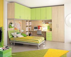 Nice space-efficient plan.  Upper cabinets too high for a child - replace with open shelving and artworks.
