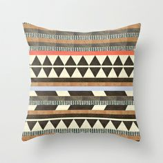 "Society6: DG Aztec No.1by Dawn Gardner THROW PILLOW / COVER (18"" X 18"") WITH PILLOW INSERT"