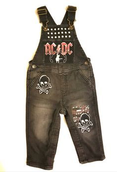 Upcycled black denim overalls with added ACDC patch as well as silver studded trim; Denim Overalls, Black Denim, Upcycle, 18th, Boutique, Pants, Clothes, Products, Fashion