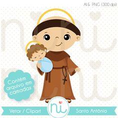 Santo Antônio - Clipart / Vetor Jesus E Maria, St Francis, Baby Jesus, Cute Cartoon, Catholic, Chibi, Scrap, Santa, Clip Art