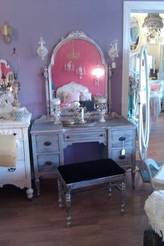 Midtown Girl Closet: So pretty, a silver distressed vanity and bench by VintageChicFurniture