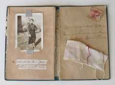 Mixed media collage on salvaged antique book by ColetteCopeland, $45.00