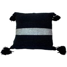 Moroccan Silver on Black Pom Pom Pillow ($119) ❤ liked on Polyvore featuring home, home decor, throw pillows, pillows, black accent pillows, black toss pillows, moroccan style home decor, silver home accessories and black throw pillows