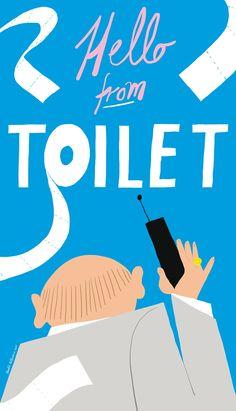 Bendik Kaltenborn: Hello from toilet, plakat, signert via No Comprendo Press. Click on the image to see more!