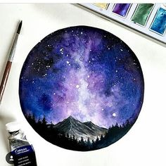 I know a lot of you have been asking about what type of watercolors I use. I am happy to tell you that I use the Komorebi… Watercolor Night Sky, Watercolor Circles, Watercolor Galaxy, Galaxy Painting, Galaxy Art, Mountains Watercolor, Mountain Drawing, Mountain Tattoo, Watercolor Art Paintings