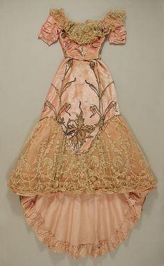 costume ball gown victorian art flower antique