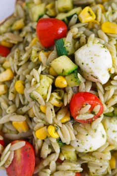 This end of summer pasta salad is a great way to use up the summer's finest ingredients (zucchini, corn, tomatoes, and basil) but realistically, it is great year-round! Easy to put together and it is great served chilled or warm!