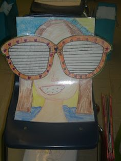 End of year writing activity: The kids write about a summer vacation they had or one they plan to have. Then they write the final on the sunglasses, glue the glasses to large construction paper, and draw their face around the glasses. This specific one is Writing Lessons, Kids Writing, Teaching Writing, Writing Ideas, Teaching Ideas, End Of Year Activities, Writing Activities, Classroom Activities, Classroom Ideas