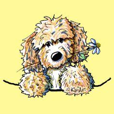 Cream Doodle dog by Contemporary PUP Artist, KiniArt (aka Kim Niles).
