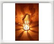 Lampe virgule d'intérieur en bois brut