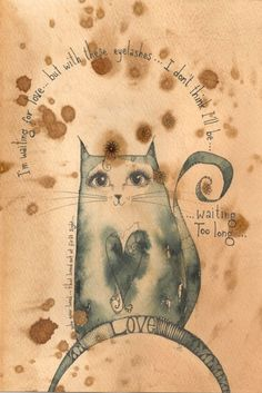 ARTFINDER: Who Ever Loved by Jilly  Henderson - 'Who Ever Loved' is an original drawing n pencil, pen and ink on hand stained paper measuring 150mm x 220mm in size. This delightful little cat claims to be...