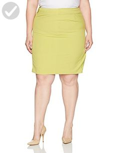 Nine West Women's Plus Size Crepe Skirt with Front Seaming, Meadow, 20W - All about women (*Amazon Partner-Link)