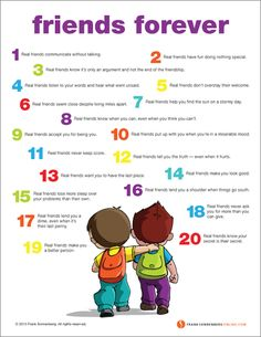 Friends Forever: Are you a good friend? This poster highlights 20 traits of a lasting friendship.