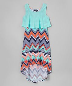 Another great find on #zulily! Sequin Hearts Mint & Coral Chevron Popover Hi-Low Dress by Sequin Hearts #zulilyfinds