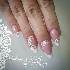 50 Top Best Wedding Nail Art Designs To Get Inspired French Nail Designs, Diy Nail Designs, Bride Nails, Wedding Nails, Wedding Bride, Fun Nails, Pretty Nails, Nail Ring, French Tip Nails