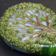 Celtic Twisty Oak Tree  - Handmade Lampwork Glass Focal Bead - Rowanberry SRA on Etsy, Sold