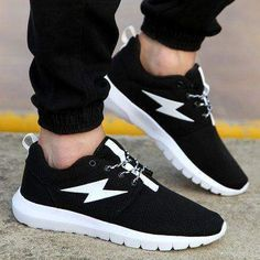 Men Breathable Sports Shoes, Black, White