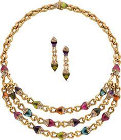 Estate Jewelry:Suites, Diamond, Multi-Stone, Gold Jewelry Suite, Bvlgari. ... (Total: 3Items)