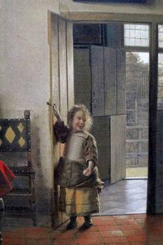"""Après """"Le Jeu des différences"""" L'adorable détail d'une peinture de Pieter de Hooch, """"la chambre"""" : une fillette auréolée d'une lu..."""