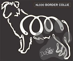 K Line Border Collie Dog Window Decal Tattoo