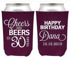 Birthday Koozies - Cheers and Beers to 30 Years Birthday Party Coozies - Customized Birthday Koozies