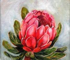 I like the way this flower is painted with the white highlights on the pedals and the vein details on the leaf. Protea Art, Protea Flower, Art Aquarelle, Watercolor Art, Flowers Nature, Beautiful Flowers, List Of Paintings, Fabric Artwork, Simple Art