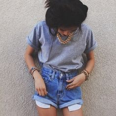 adorable high-waisted jean shorts with a cute casual t shirt and gold chain with gold jewelry