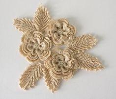 crochet window art | Crochet Flowers and Leaves Applique with Glass Pearl by GetTangled, $ ...
