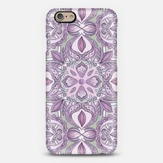 #purple #floral #pattern #grey #iPhone6 Phone Case | iPhone 6 | Casetify | Portrait | Graphics | Painting  | Micklyn Le Feuvre