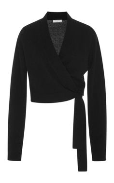 This sweater by **Equipment** is rendered in a feminine wrap, crop style.