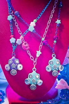 Kawaii Grunge Pastel Goth Gas Mask Necklace Are you my mommy?