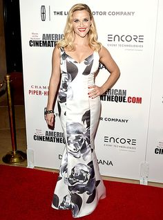 Reese Witherspoon stuns in a rose-print dress by Prabal Gurung.