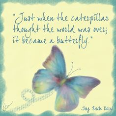 Just when the caterpillar thought the world was over it became a butterfly.