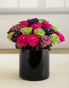 Buy Bright Vs Black Flower Vase Online Happy Birthday FlowerFlower VasesSilk FlowersFirst BirthdaysBalloonsRosesBud