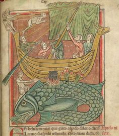 British Library, Harley MS 4751, Folio 69r Sailors have mistaken a whale for an island, and have moored their boat to it. One sailor has made a fire and is cooking something. The whale has enticed fish into its mouth.