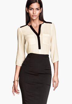 34656b6efb06 H amp M office wear spring 2014 Looks Lindos, V Neck Blouse, Work Fashion