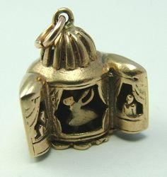 1950's 9ct Gold & Enamel Rotating Theatre Charm