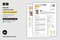 Resume / Cover Letter (Graphic) by machruzah · Creative Fabrica Resume Format, Resume Cv, Resume Tips, Resume Design, Resume Ideas, Resume Writing Examples, Writing Tips, Cover Letter Sample, Cover Letter For Resume