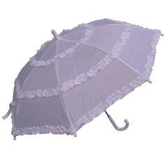 Girls White Parasol Rain Umbrellas - saraglove.com