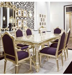 Luxury purple and gold dining room