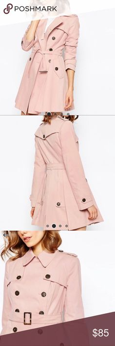 """ASOS Blush Trench Coat NWT Elegant and sweet blush pink trench! Classic piece with some interesting stylistic details like it's A-line cut, backside pleats, and millennial pink color! In looove with this coat but sadly the sleeves are a bit too long for my 5'3"""" frame 😞 ASOS Jackets & Coats Trench Coats"""