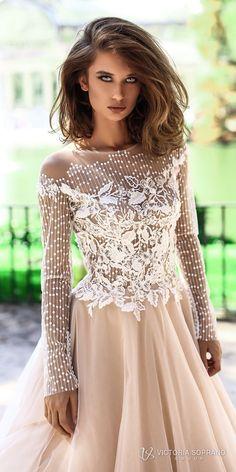 06b5ea1bfb7be0 victoria soprano 2018 bridal long sleeves jewel neckline heavily  embellished bodice romantic elegant blush color a