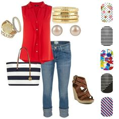 love the whole outfit - especially those wedges and that Michael Kors bag! I love all Michael Kors stuff! Watches, jewelry, purses and more. Style Work, Mode Style, Style Me, Michael Kors Outlet, Handbags Michael Kors, Michael Kors Bag, Mk Handbags, Fashion Handbags, Mode Outfits