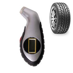 Digital Auto Tire Gauge with Light-Up LCD Screen & Nozzle