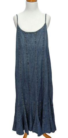 Ralph Lauren LRL Jeans Co Tulip Trumpet Hem Denim Dress Size 12 Broken In Blue #LaurenRalphLauren #DenimSleevelessJumperDress #Casual