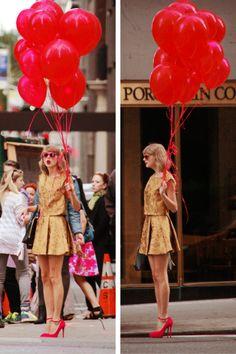 So pretty. Love how the balloons match her heels. I don't know it might just be me, but it think that red and her yellow-ish color got amazing together!