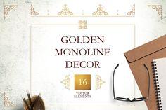 Golden Monoline Decor Vol. 1 by O'Gold! on @creativemarket