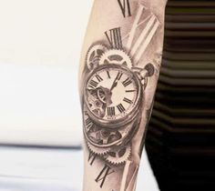 Awesome 3d realistic black and gray time tattoo by artist Miguel Bohigues
