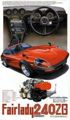 Nissan Fairlady 240 ZG ad, shoutout to Greg Hightower ahahaha Auto Retro, Retro Cars, Vintage Cars, Nissan Z Cars, Jdm Cars, Classic Japanese Cars, Classic Cars, 240z Datsun, Datsun Car