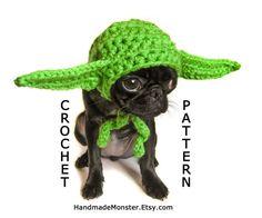 CROCHET DOG HAT pattern yoda star wars inspired by HandmadeMonster